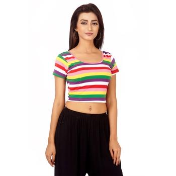 multicolor Colour Cotton Spandex Free Size Blouse for Women.