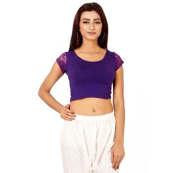 Purple Colour Cotton Spandex Free Size Blouse for Women.