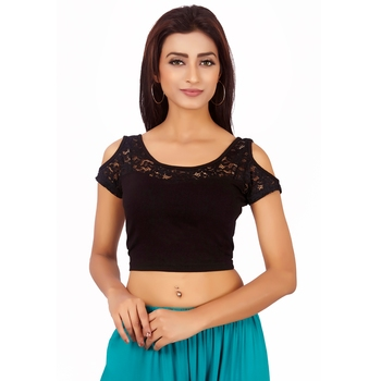 Black Colour Cotton Spandex Free Size Blouse for Women.