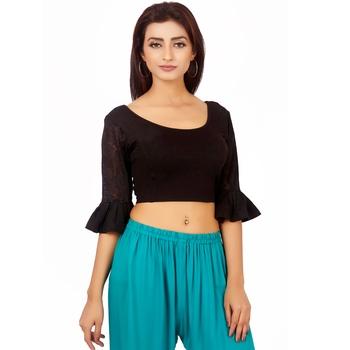 Black Colour Cotton Spandex Free Size Blouse for Women.