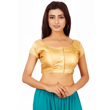 Gold Colour Silk Free Size Blouse for Women.