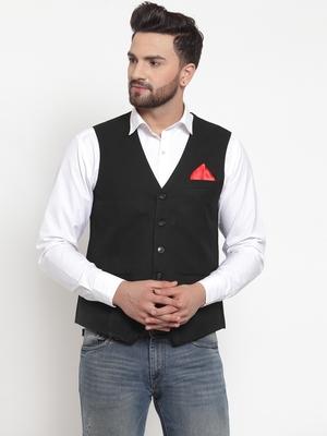 Black Woven Pure Woollen Nehru Jacket