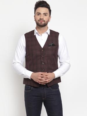 Brown Woven Pure Woollen Nehru Jacket