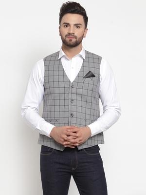 Grey Woven Pure Woollen Nehru Jacket