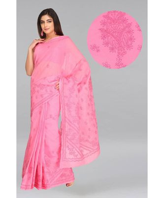 Ada Hand Embroidered Pink Cotton Lucknow Chikankari Saree With Blouse