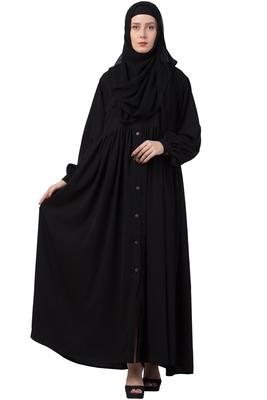 MRC Mrc-9051 Front Open Abaya Black