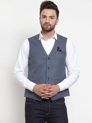 Blue Woven Pure Woollen Nehru Jacket