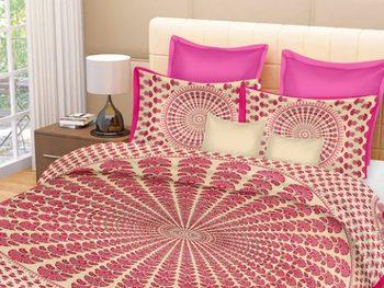 RIDAN  Mor Pankh Print Pure Cotton Double  multicolour Bedsheet