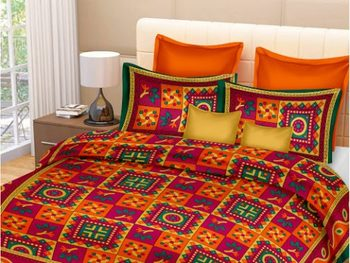 Ridan  Katha Print Pure Cotton Double multicolour Bedsheet