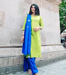 LIME GREEN AND BLUE HAND WORK SUIT