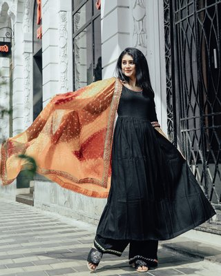 ROYAL JET BLACK SUIT SET WITH MULTI BANDHEJ DUPATTA