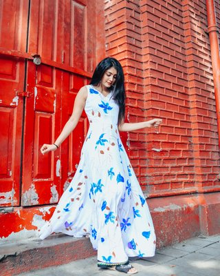 WHITE BASE WITH BLUE FLORAL HANDPAINTED DRESS