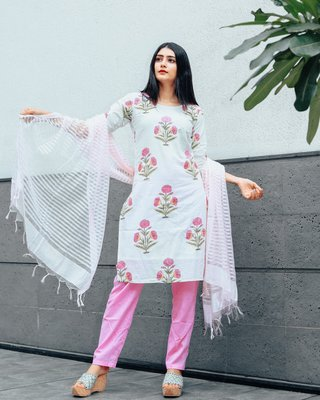 Pink Hand Block Printed Suit Set