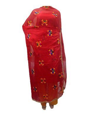Red Phulkari Booti Dupatta