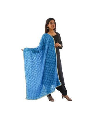 blue Phulkari Kanchan Dupatta