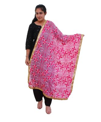 pink Heavy Embroidery Phulkari Dupatta