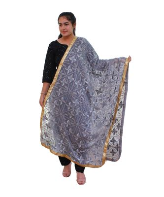 blue Heavy Embroidery Phulkari Dupatta