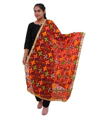 red Heavy Embroidery Phulkari Dupatta
