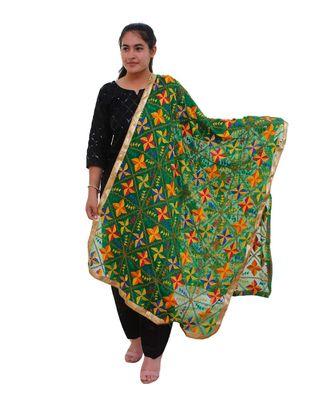 green Heavy Embroidery Phulkari Dupatta