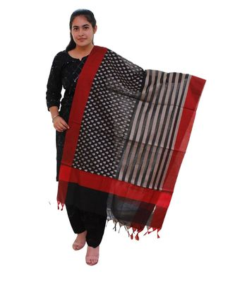 black Chanderi Silk Banarsi Dupatta