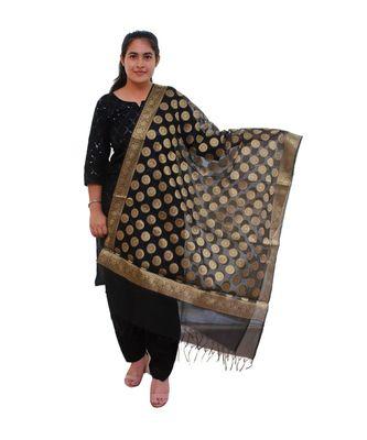 black Chanderi Silk Banarsi Dupatta