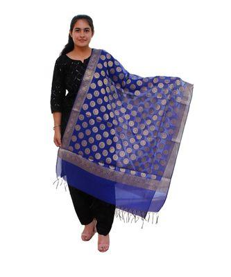 blue Chanderi Silk Banarsi Dupatta