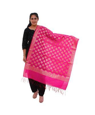 pink Chanderi Silk Banarsi Dupatta