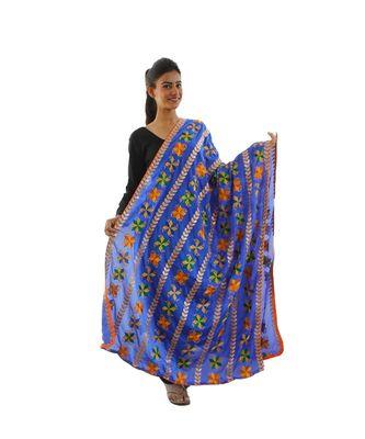 Royal Blue Chinon Phulkari Dupatta with Gotta Patti Work