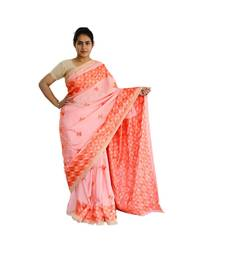 Peech woven chiffon Phulkari Saree