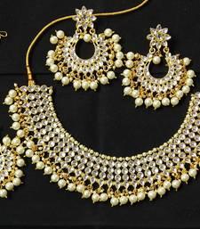 Ethnic Indian Bollywood Kundan Emerald Pearl 4pc Full Jewelry Set