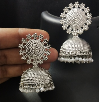 Designer Ethnic Indian Bollywood All Occasion Silver Plated Pearl Jhumkas