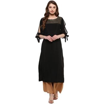 Women's Black Colour 3/4Th Sleeve Crepe Straight Kurta
