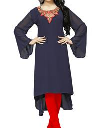 Navy Blue Color Embroidery Georgette Kurti Top For Women