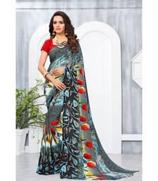 Multi Color Georgette Printed Designer saree with blouse
