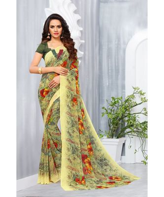 Yellow Georgette Printed Designer saree with blouse