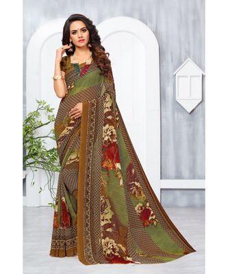 Maroon Georgette Printed Designer saree with blouse