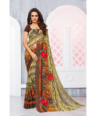 Multi Color Georgette Printed Designer saree with blouse