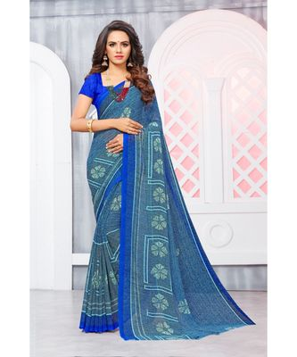 Blue Georgette Printed Designer saree with blouse