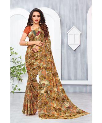 Brown Georgette Printed Designer saree with blouse