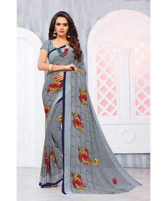 Grey Georgette Printed Designer saree with blouse