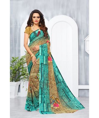 Green Georgette Printed Designer saree with blouse