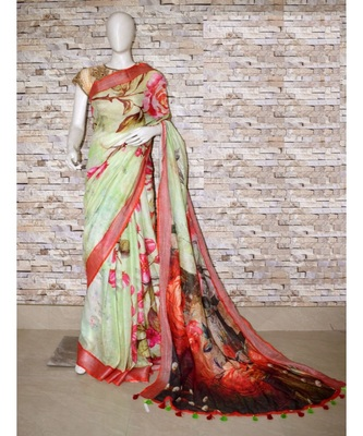 Multicolor Floral Print Linen Saree