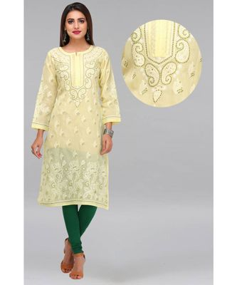 Lemon embroidered cotton chikankari-kurtis