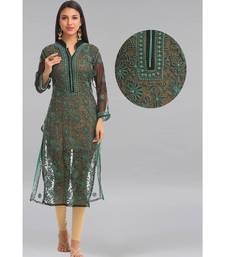 Black embroidered georgette chikankari-kurtis