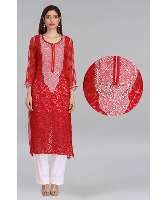 Red Embroidered Faux Georgette Chikankari Kurti