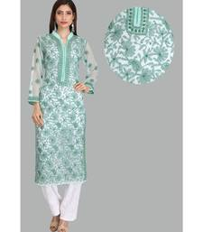 Green embroidered georgette chikankari-kurtis