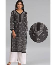 Ada Black embroidered cotton chikankari kurti