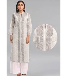Ada Grey Embroidered Cotton Chikankari Kurti