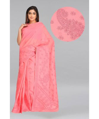Ada hand embroidered peach cotton lucknow chikankari saree with blouse