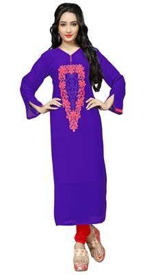 Blue Color Casual Wear Georgette Embroidery Kurti For Women